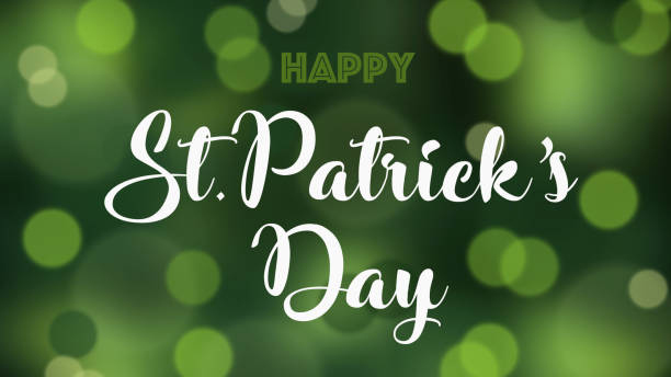 Happy St Patrick's day on a defocused bokeh background stock photo.